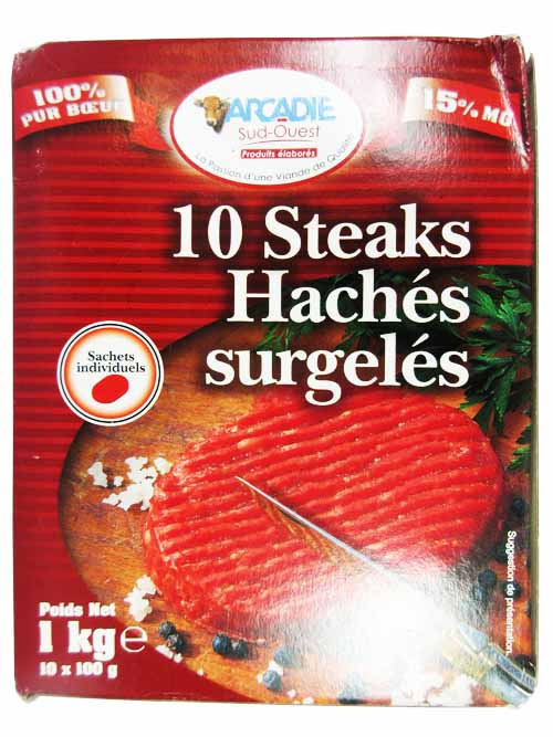 steak hach 15 mg arcadie vf 10x100g 1kg boucherie. Black Bedroom Furniture Sets. Home Design Ideas